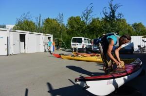Sortie des kayaks pour un entrainement du mardi soir (septembre 2014)