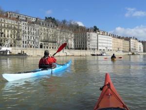 Entrainement en kayak de mer sur la Saône (mars 2014)