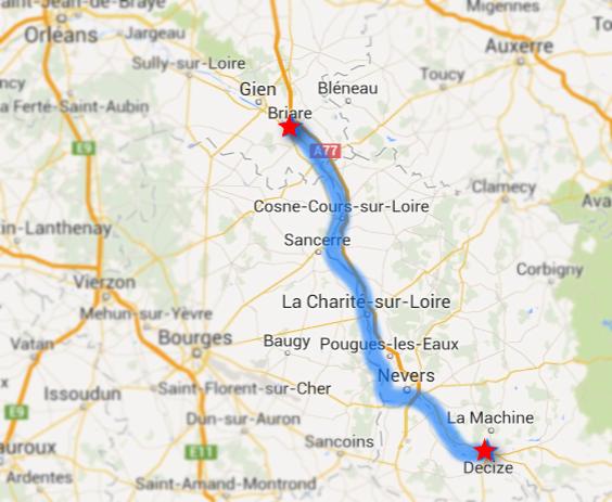 Itinéraire du raid sur la Loire