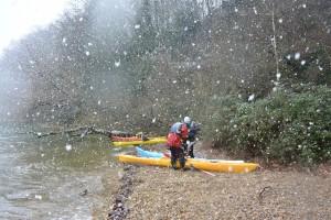 embarquement sous la neige