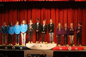 Podium K4 dames cadettes - Lyon Vice-champion de France avec l'equipage Blanc/Bekkadour/Rocher/Dubut