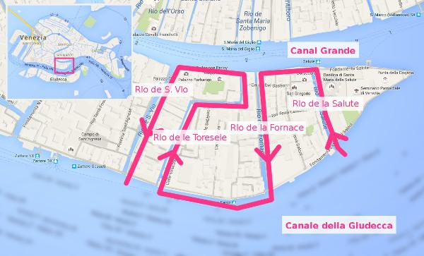 Itinéraire dans les canaux de Venise