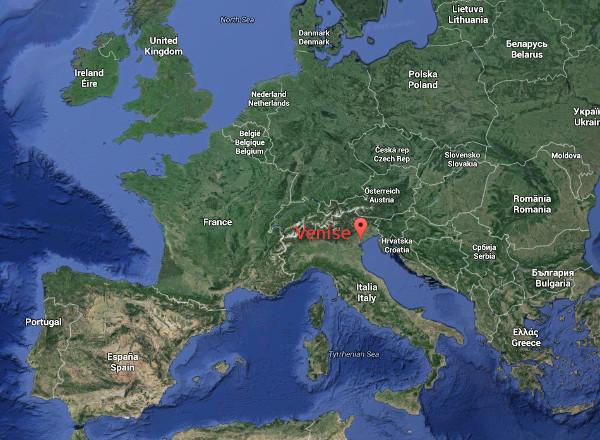 Plan de situation de Venise en Europe
