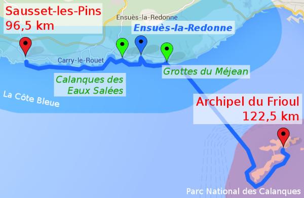 itinéraire J4 : Sausset Les Pins - Archipel du Frioul