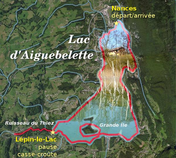 Lac d'Aiguebelette - itinéraire du 15 novembre 2015