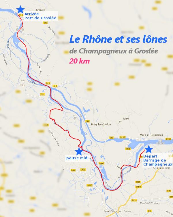 Itinéraire du 28 février 2016 : descente du Rhône et lônes