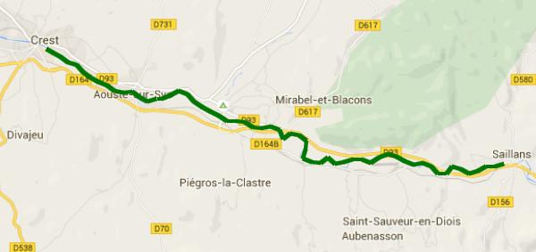 Itinéraire sur la Drôme de Saillans à Crest