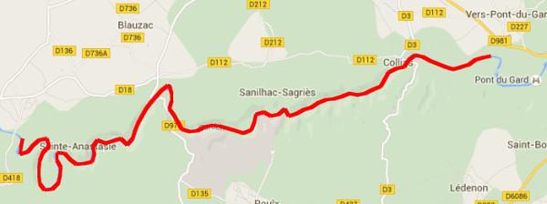 Itinéraire sur le Gardon de Russan à Vers-Pont-Du-Gard