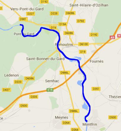 Itinéraire sur le Gardon de Vers-Pont-Du-Gard à Montfrin