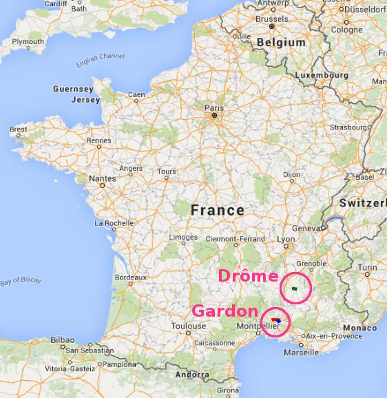 Plan de situation générale : le Gardon et la Drôme