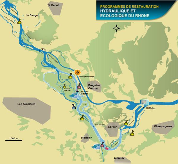 Carte des lônes à Brégnier-Cordon