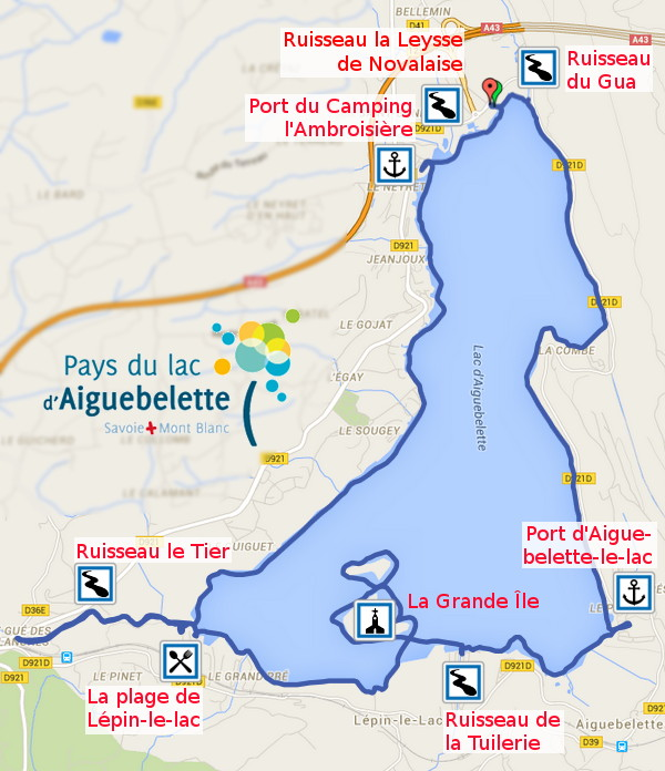 Itinéraire sur le Lac d'Aiguebelette le 17 avril 216