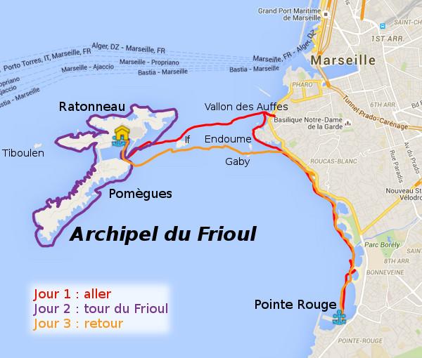 Itinéraire rando Frioul de mai 2016