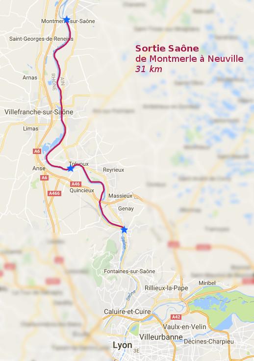 Itinéraire sur la Saône le 6 novembre 2016