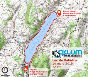 Lac de Paladru - 10 mars 2019 - itinéraire - IGN