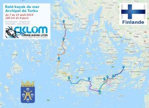 Itinéraire du raid dans l'archipel de Turku 2019