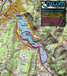 Itinéraire sur le Lac d'Annecy (26-27 octobre 2019)